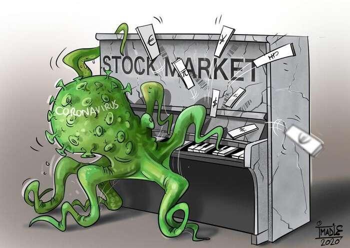 Globální ekonomický systém dostává pořádnou ťafku. Ilustrace Imad Sanouni, The Cartoon Movement