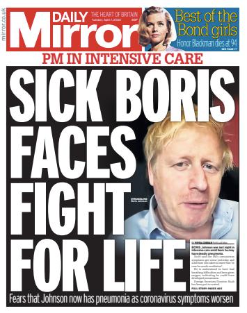 """""""NEMOCNÝ BORIS BOJUJE OŽIVOT. Otázky kolem onemocnění premiéra budí rozpaky,"""" shrnula situaci úterní titulka bulvárního Mirroru. Repro DR"""