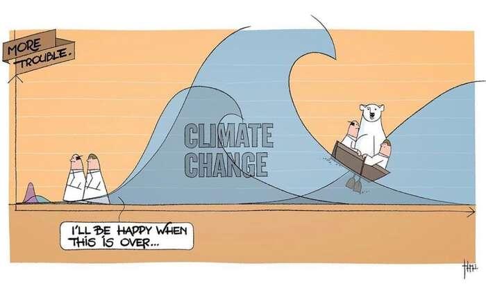 Reakce světové politiky napandemii koronaviru jako vezrychleném filmu odráží chyby, jichž sedopouští vevztahu keklimatické krizi. Kresba The Cartoon Movement