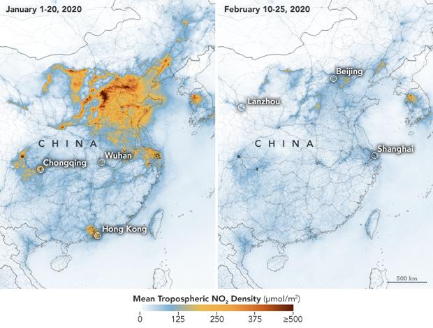 Emise oxidu dusíčitého během epidemie koronaviru vČíně výrazně klesly. Mapa NASA Earth Observatory