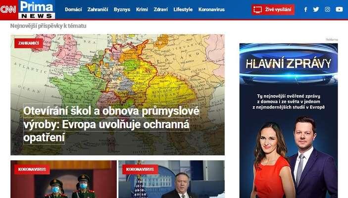 Na headlinu zahraniční sekce CNN Prima News védodila ještě vpondělí zpráva ČTK podkreslená mapou Evropy shranicemi odpovídajícími první polovině 18. století. Repro DR