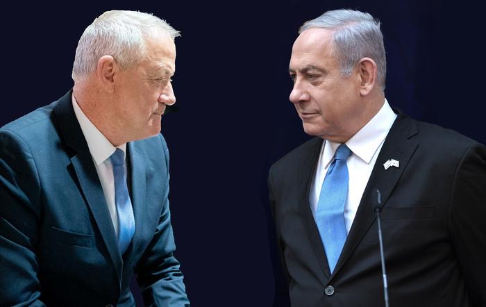 Vleklá politická krize vIzraeli končí dohodou dvou dosud nesmiřitelných rivalů Bennyho Gance aBenjamina Netanjahua nasestavení společné vlády. Kompromis zahrnuje ustavení čtyřiatřiceti ministerstev arotaci vefunkcích. Foto WmC