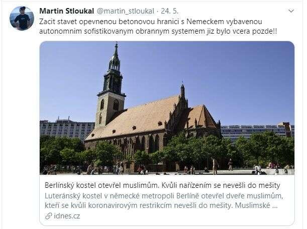Profil Martina Stloukala jepodobných vyjádření plný. Repro Twitter