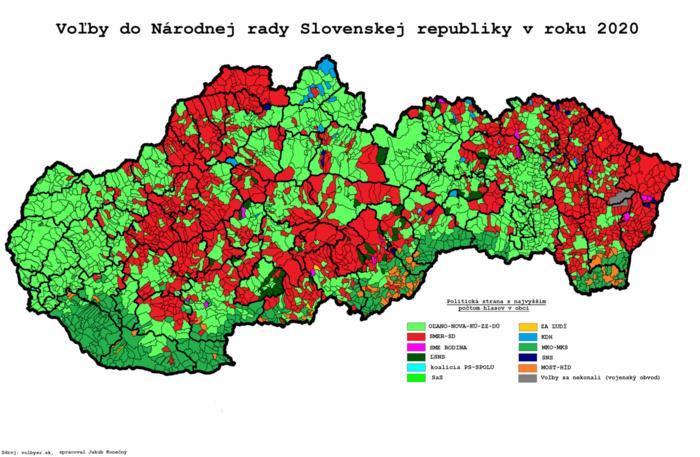 Z regionů, vnichž uspěl vposledních volbách Smer (červenou), chybí Pellegrinimu vůdčí osobnosti jen zPováží aKysuc. Grafika WmC