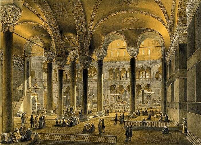 Litografie zachycující interiér Hagie Sofie vedruhé polovině 19. století, vdobě, kdy fungovala jako plnohodnotná mešita. Zdroj Britishmuseums.org