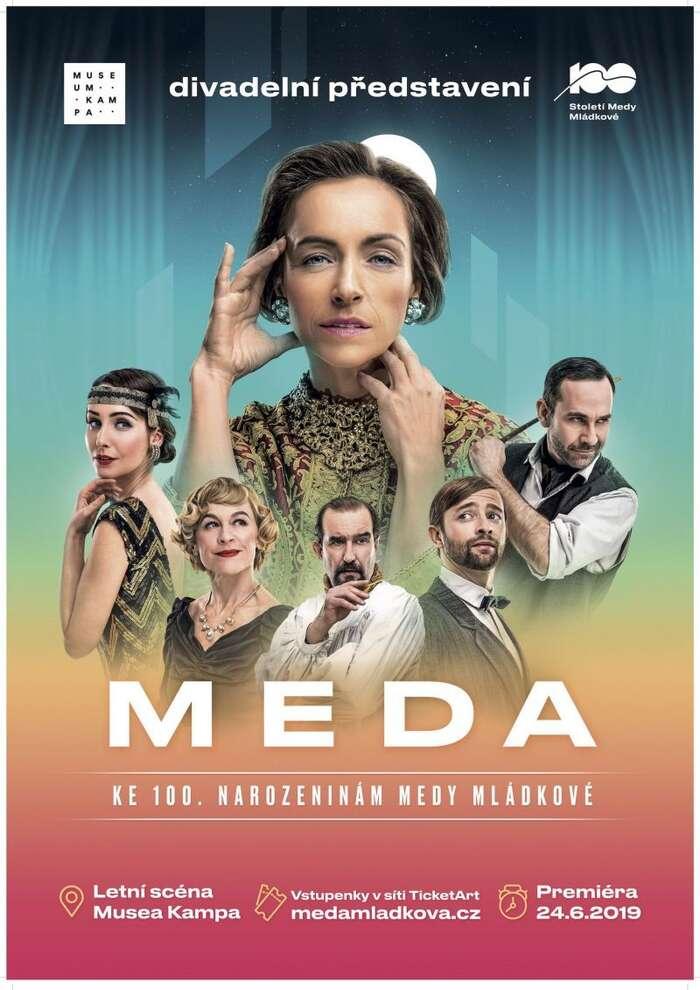 Divadelní představení MEDA jeoficiálně prezentováno jako dar Medě Mládkové kjejím stým narozeninám. Grafika Muzeum Kampa