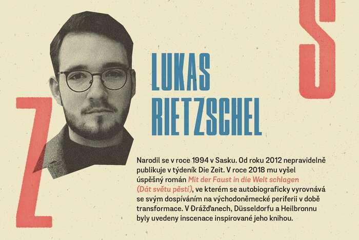 Cyklus otevírá Lukas Rietzschel. Grafika Petr Kněžek