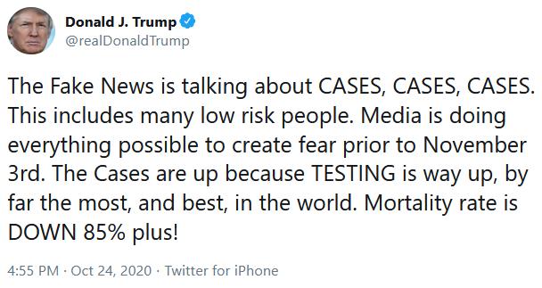 Jedna zTrumpvých lží: USA podle něj disponují tak špatnými čísly voblasti úmrtí apočtu nakažených jen kvůli tomu, že testují více alépe, než ostatní země. Repro DR