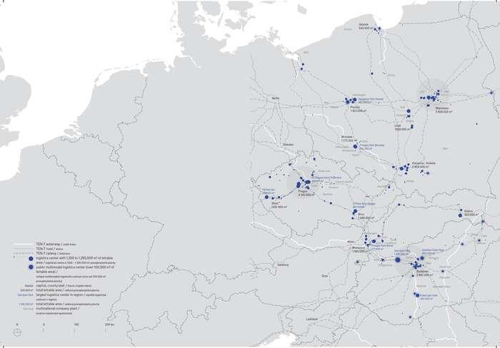 Mapa skladovacích hal. llustrace Ocelová města