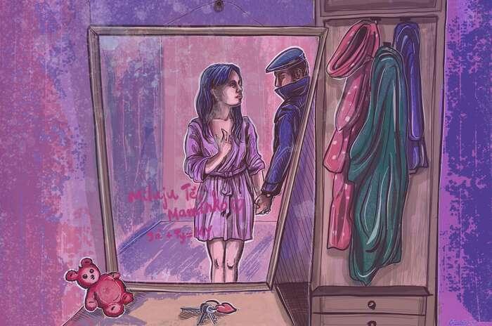 Předsíni vbytě Táni ajejí dcery dominuje obrovského zrcadlo a naněm seskví nápis vyvedený růžovou rtěnkou: Moc tě miluju, maminko. Já + ty= my. Ilustrace Šárka Motyčková