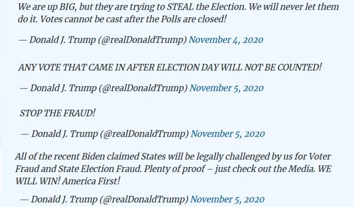 Během sčítání korespondenčních hlasů vprvních dnech povolbách sesnažil Trump vytvořit dojem, že někdo umožňuje lidem stále hlasovat. Repro DR