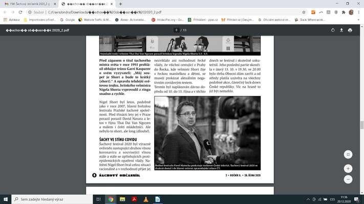 Screenshot Šachového občasníku, 28. 10. 2020. Repro DR