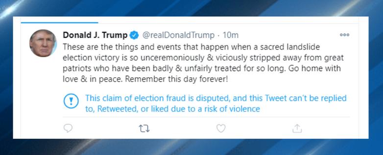 """Sám Trump svedl vše opět na""""ukradené volby"""". Repro DR"""