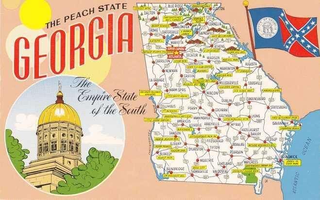 Desetimilionová Georgie serozkládá mezi Tennessee, Jižní Karolínou, Alabamou aFloridou. Až donedávna byla typickým jižanským státem sevším všudy. Grafika HipPostCard