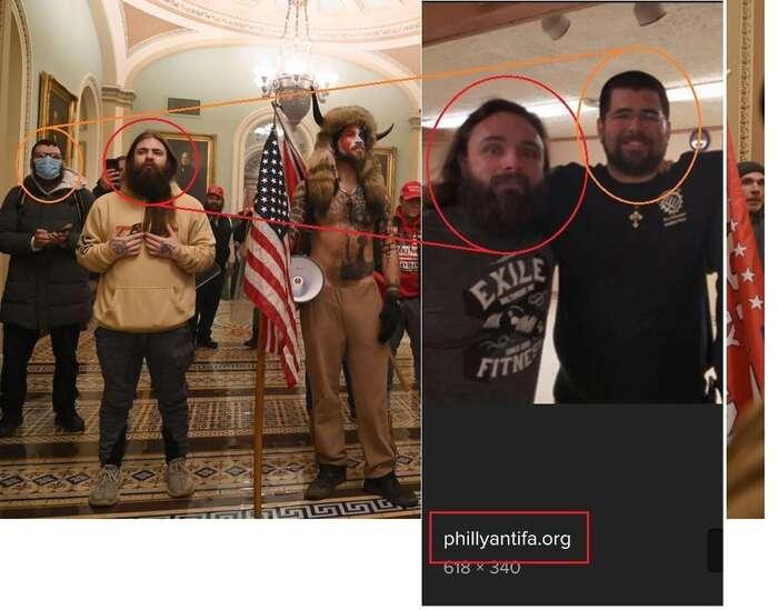 Na smínku zKapitolu (vpravo) zřejmě veskutečnosti nejsou Tankersley aHeimbach jako naantifašistickém seznamu (vpravo), kAntifě ale ani jeden znich nepatří. Foto zTwitteru JakubJeek8