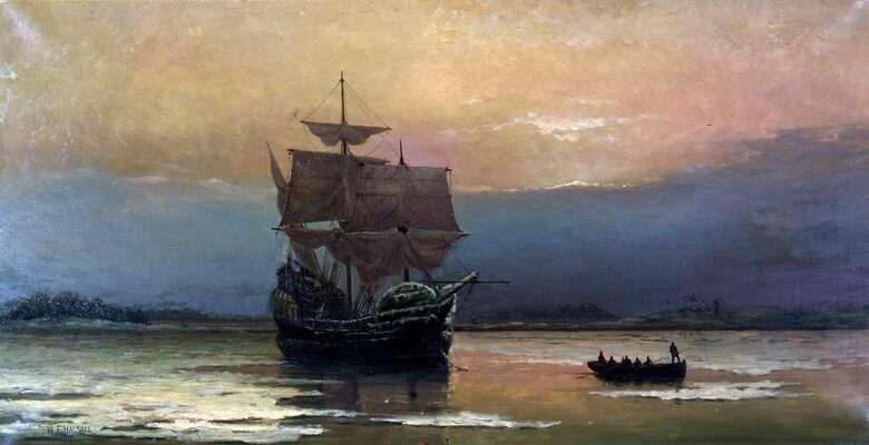 Jeden zpólů americké společnosti navazuje už namotivaci otců poutníků zeslavné lodi Mayflower, která odplula roku 1620 vpočtu 102 lidí včetně posádky zjihoanglického Plymouthu. Noví osadníci byli puritáni, náboženští radikálové, vjejichž prostředí později vzniká fundamentalismus sesvou náboženskou apolitickou agendou. Malba William Halsall, WmC
