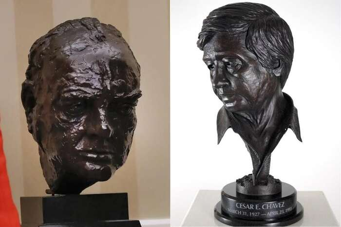 Britská pravicová média považují odstranění busty novým prezidentem zasymbolické vyjádření úpadku historicky výjimečného vztahu mezi Spojenými státy aVelkou Británií. Některé britské aamerické komentátory však rozčílila hlavně skutečnost, že Churchilla Biden nahradil bustou odboráře Césara Cháveze. Koláž DR