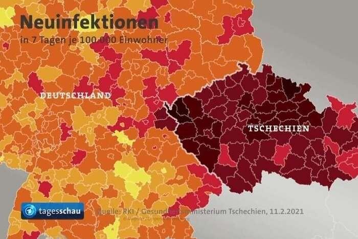 Grafika německé televize ilustruje počty nově nakažených nasto tisíc obyvatel zaposlední týden den poté, cočeská Sněmovna neprodloužila nouzový stav, a defacto tak rozhodla orozvolňování. Repro DR