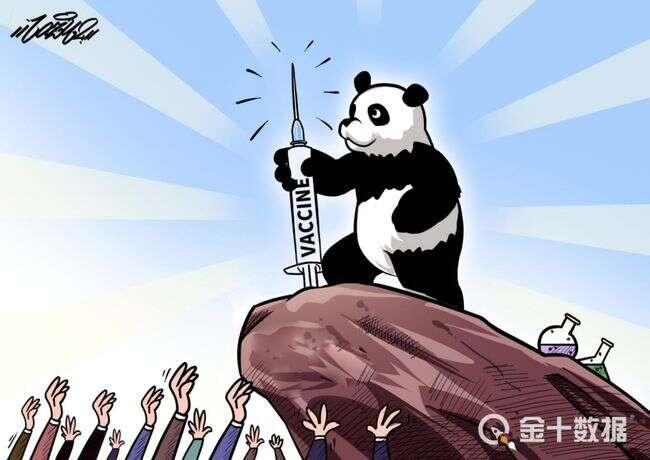 Čínský tisk karikuje svět údajně žadonící vČíně ovakcínu. Repro DR