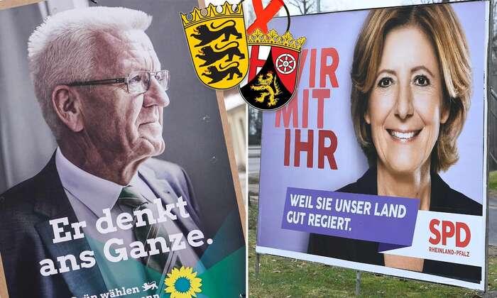 Oboje nedělní volby vyhrály strany oblíbených premiérů, Winfrieda Kretschmanna aMalu Dreyerové. Kontext dodávají ale až výsledky ostatních. Fotokoláž JF
