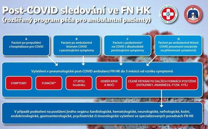 Schéma šetření postcovidového syndromu veFakultní nemocnici Hradec Králové. Grafika FNHK