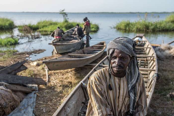 Situace jezera Čad, naněž samozřejmě dopadají změny klimatu, jedo značné míry provázána sosudy stejnojmenné země. Foto UNHCR