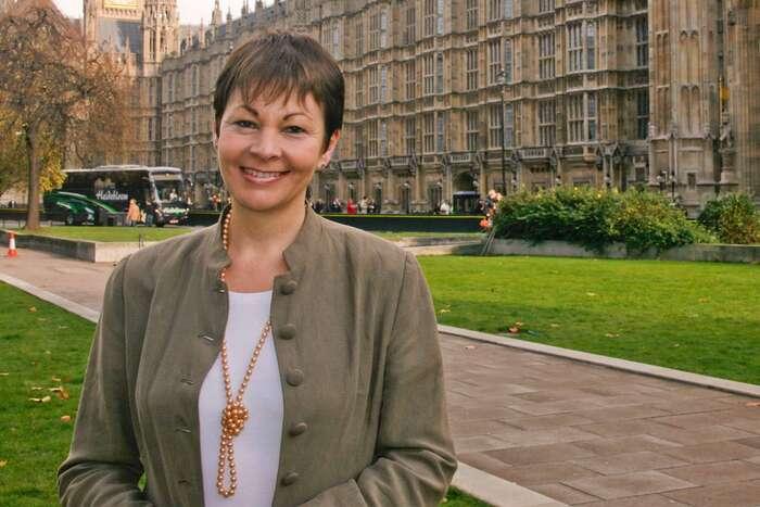 Zatím jediná zelená poslankyně Caroline Lucasová. Fotomontáž Bn1magazine.co.uk