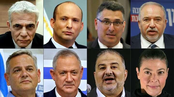 Lídři stran nové koalice. Zleva nahoře Jair Lapid, Naftali Benet, Gideon Saar aAvigdor Lieberman, dole pak Nican Horowic, Benny Ganz, Mansúr Abbás aMerav Michaeliová. Grafika AFP