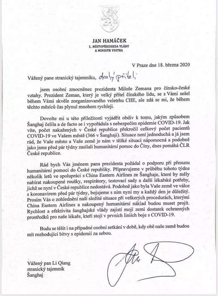 Dopis Jana Hamáčka tajemníkovi Šanghajského městského výboru Komunistické strany Číny. Repro DR